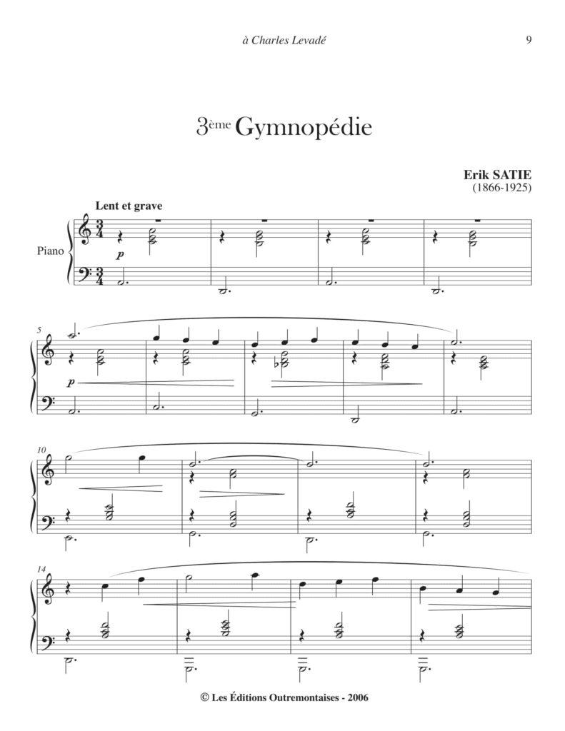 Partition Gymnopédie n°3