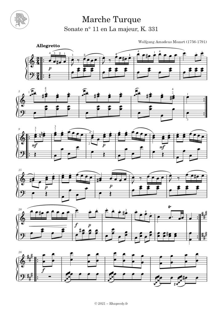Partition Mozart Marche Turque