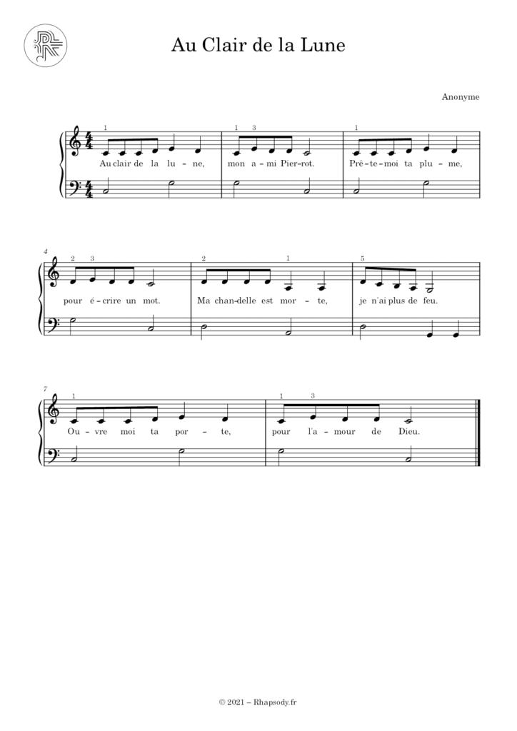Partition Au Clair de la Lune